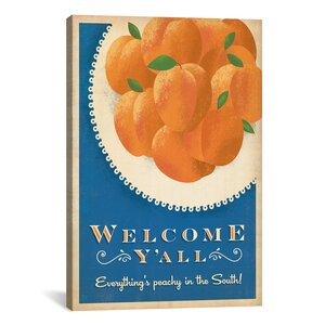 South Carolina Series: Welcome Peaches Graphic Art on Wrapped Canvas by Laurel Foundry Modern Farmhouse