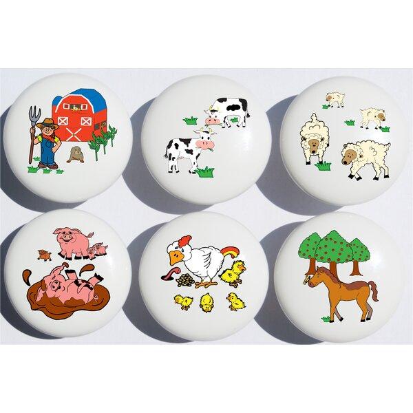 Animal Farm Circle Novelty Knob Multipack (Set of 6) by Presto Chango Decor