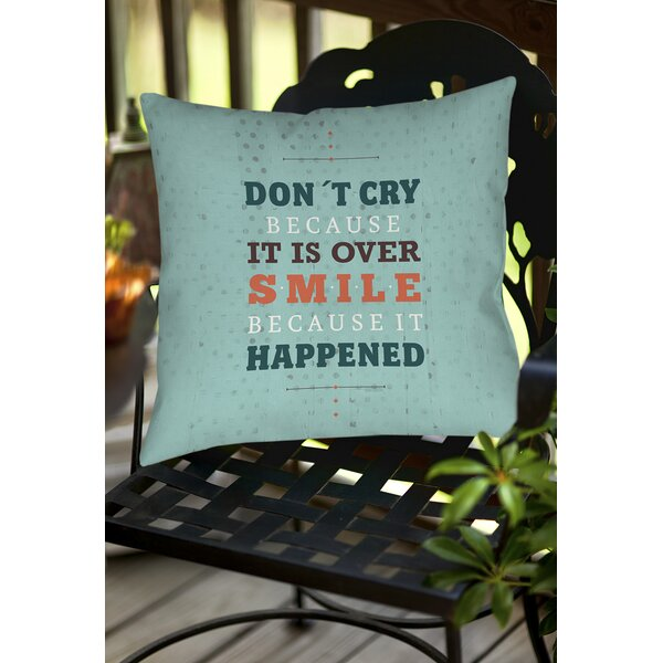 Smile at Past Indoor/Outdoor Throw Pillow by Manual Woodworkers & Weavers