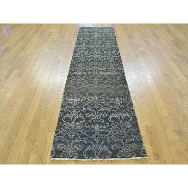 One-of-a-Kind Bean Damask Handwoven Black Wool/Silk Area Rug by Isabelline