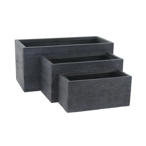 Modern Rectangular 3-Piece Clay Planter Box Set by Cole & Grey