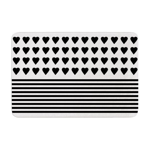 Project M Heart Stripes and Monochrome Lines Memory Foam Bath Rug by East Urban Home