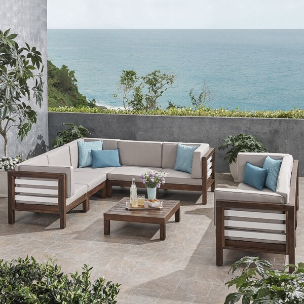 Pate Outdoor 9 Piece Sectional Seating Group with Cushion by Breakwater Bay