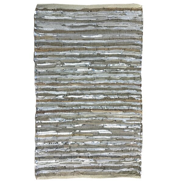 Leather Striped Gray Area Rug by Spura Home