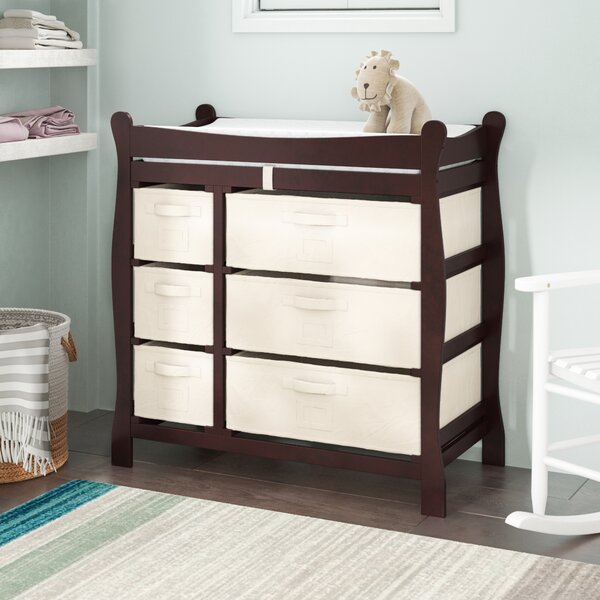 Shannon Sleigh Style Baby Changing Table with 6 Baskets by Viv + Rae