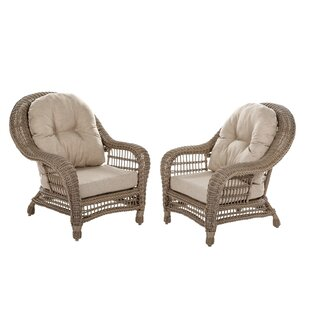 Alley Outdoor Garden Patio Chair with Cushion (Set of 2) by One Allium Way