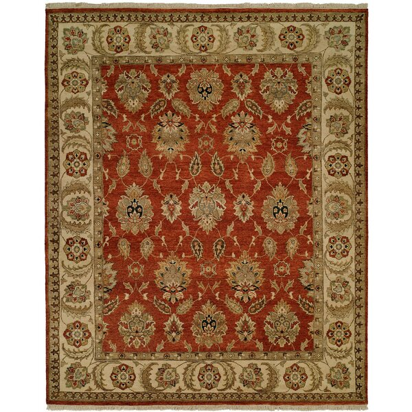 Fatehabad Hand-Knotted Rust/Ivory Area Rug by Meridian Rugmakers