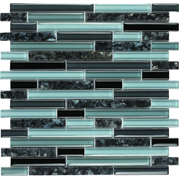 Spectrum Random Sized Stone Composite and Glass Mosaic Tile in Black and Blue by Epoch Architectural Surfaces