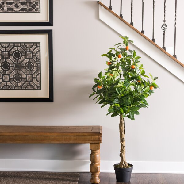 Real Touch Orange Foliage Tree in Pot by Charlton Home