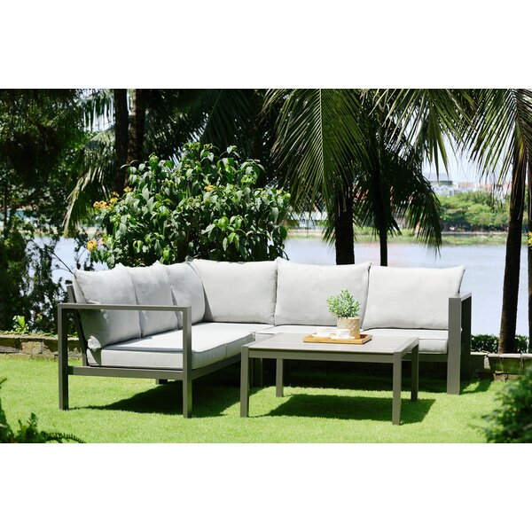 Solana Outdoor 4 Piece Sectional Seating Group with Cushions by Armen Living