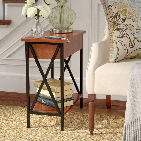 Abbottsmoor End Table With Built-In Outlets By Andover Mills
