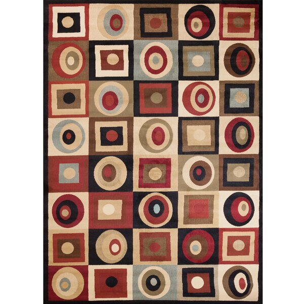Scituate Soho Tribeca Rounds and Squares Brown Area Rug by Ebern Designs
