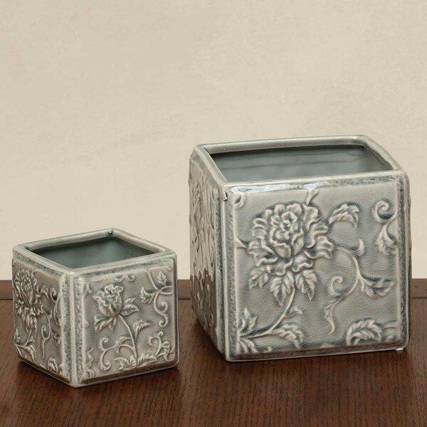 Wheelersburg Square Floral Ceramic Pot Planter (Set of 2) by Charlton Home