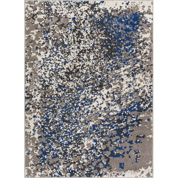 Angie Modern Abstract Paint Splash Blue Area Rug by Ebern Designs