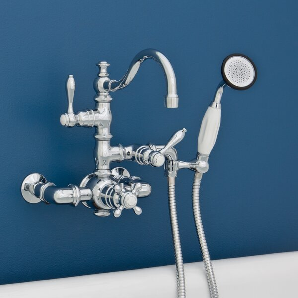 Double Handle Wall Mount Faucet with Handheld Shower by Strom Plumbing by Sign of the Crab