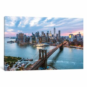 'Brooklyn Bridge and Lower Manhattan Skyline, New York City, New York, USA' Photographic Print on Wrapped Canvas by East Urban Home