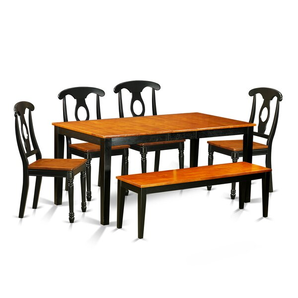 Pillar Traditional 6 Piece Wood Dining Set with Rectangular Table Top by August Grove