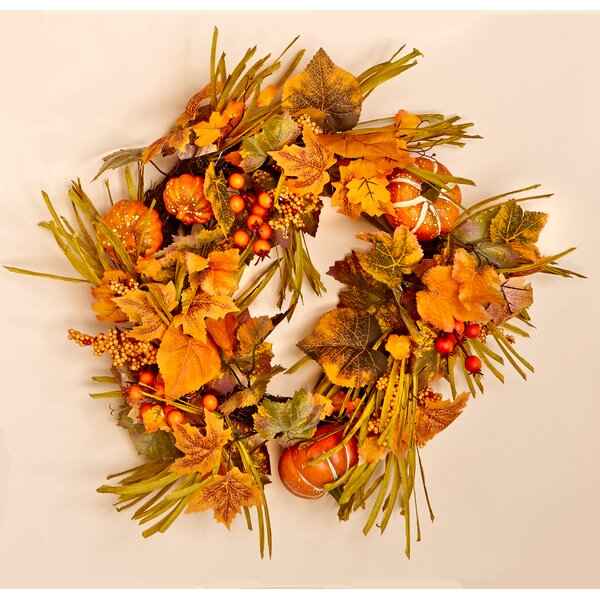 20 Fall Berries, Pumpkins and Leaves Wreath by Worth Imports