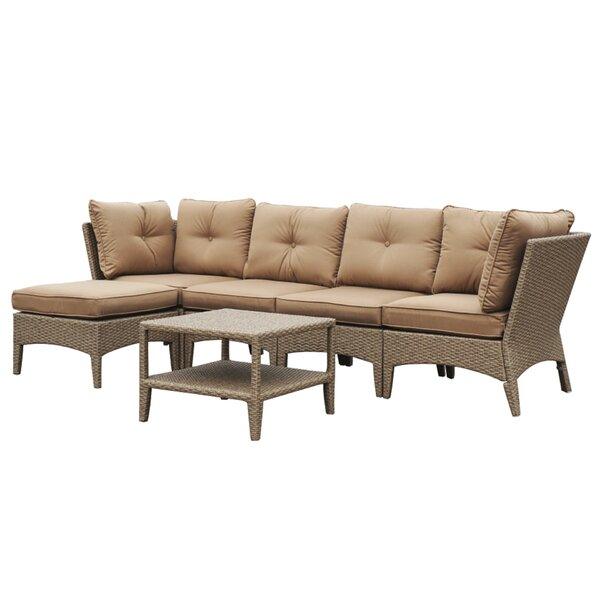 Alyssa 6 Piece Rattan Sectional Seating Group with Cushions by Alcott Hill