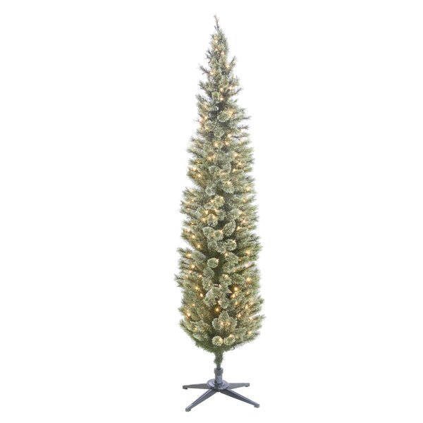 Cashmere Pencil 84 Green Pine Artificial Christmas Tree with 210 Clear/White Lights by The Holiday Aisle