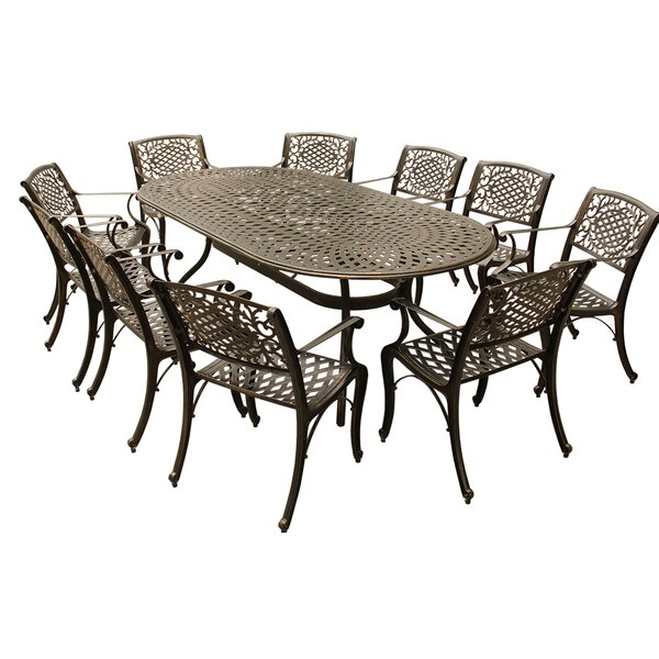 Casillas Outdoor Mesh Lattice 11 Piece Dining Set by Fleur De Lis Living