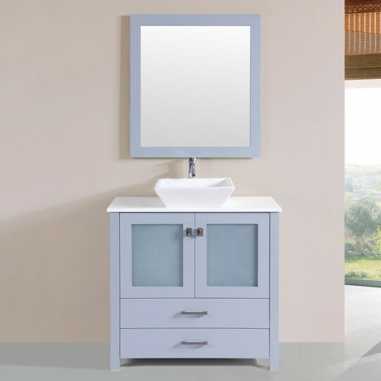 Lapp Modern 36 Single Bathroom Vanity Set with Mirror by Latitude Run