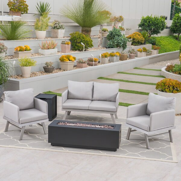 Angelique Modern 5 Piece Sofa Seating Group with Cushion by George Oliver