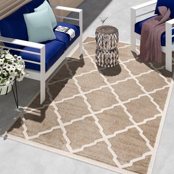 Maritza Trellis Wheat/Beige Indoor/Outdoor Area Rug by Willa Arlo Interiors