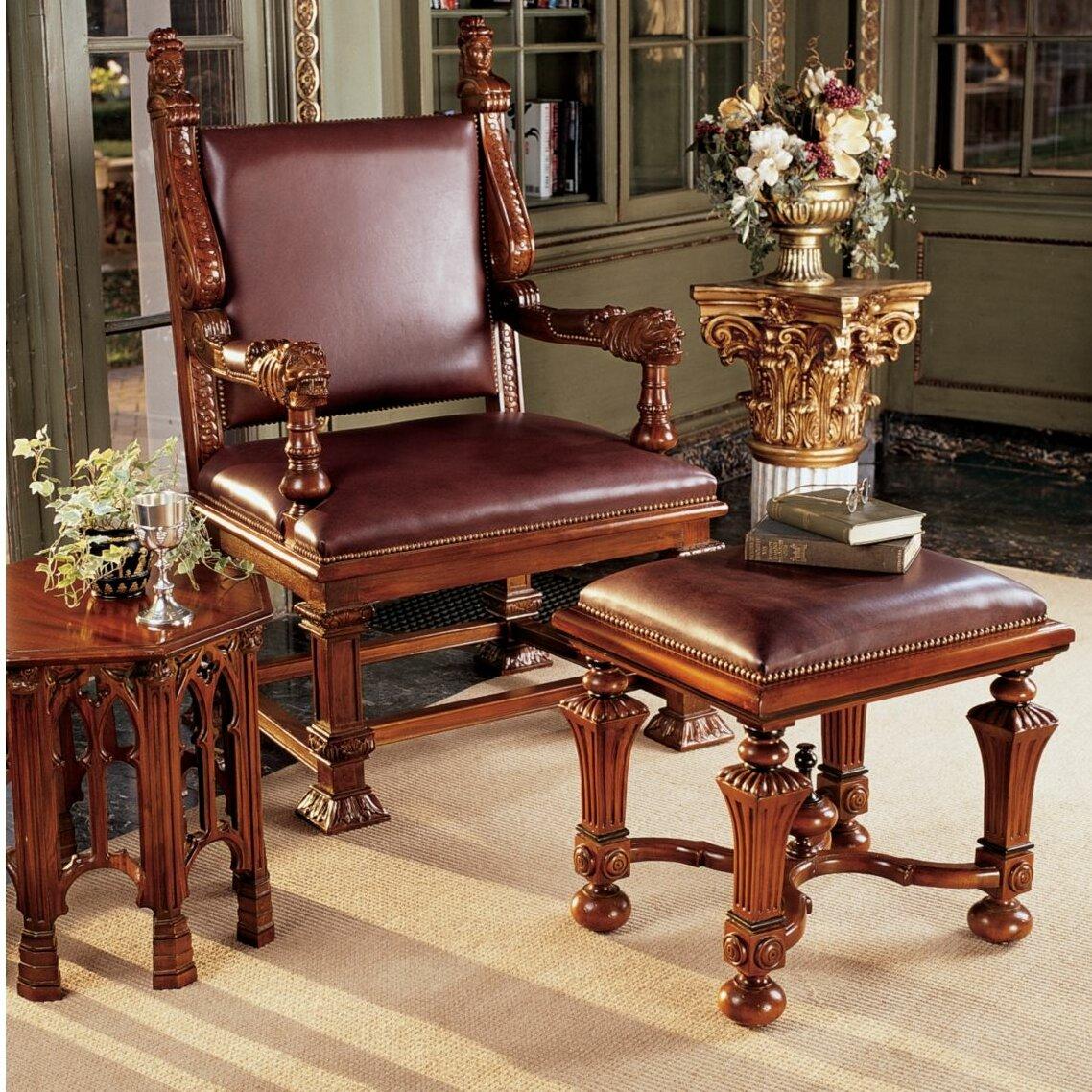Design Toscano Lord Cumberlandu0027s Throne Armchair And Footstool Set | Wayfair