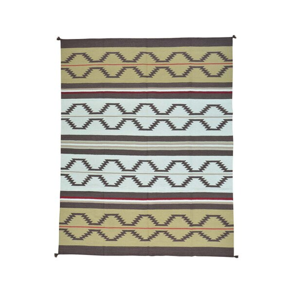 One-of-a-Kind Feeley Southwestern Kilim Flat Weave Oriental Hand-Knotted Beige/Brown Area Rug by World Menagerie