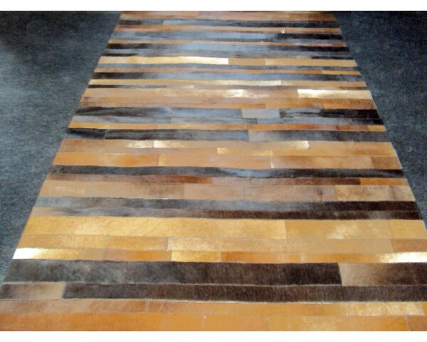 Patchwork Leather Stripe Brown Area Rug by Modern Rugs