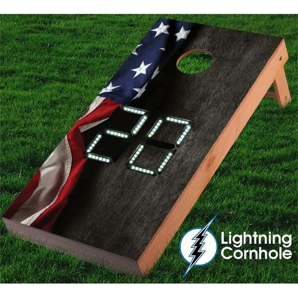 Electronic Scoring Hanging American Flag Cornhole Board by Lightning Cornhole
