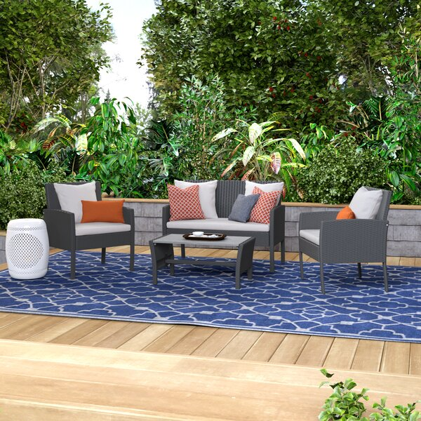 Sarver 4 Piece Rattan Sofa Seating Group with Cushions by Ivy Bronx