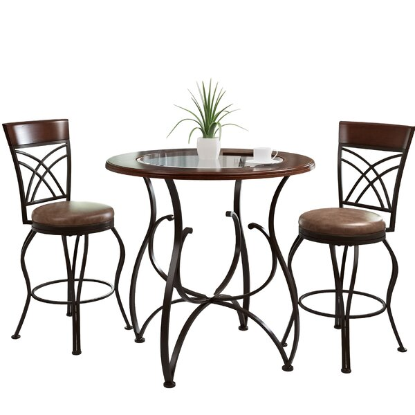 Mekhail Counter Height Rustic Pub Table Set (Set of 3) by Red Barrel Studio