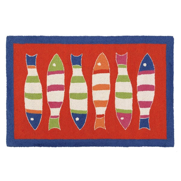 Picket Fish Hooked Red Kids Rug by Kate Nelligan