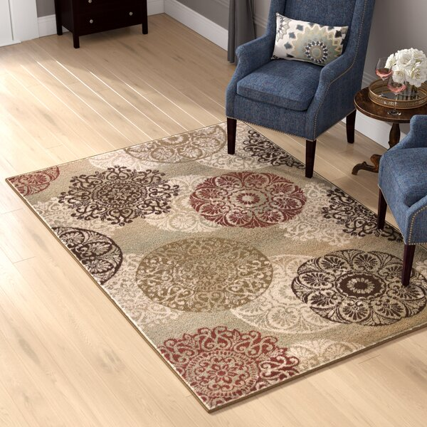 Winterberry Beige/Brown/Red Area Rug by Three Posts