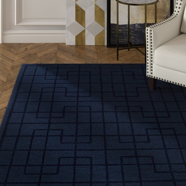 Choteau Hand-Tufted Navy Area Rug by Mercer41