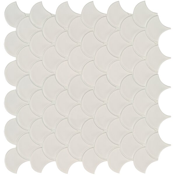 Domino Fish Scale Mesh Mounted Porcelain Mosaic Tile in White by MSI
