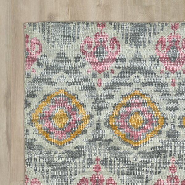 Lithonia Hand-Knotted Grey Area Rug by Bungalow Rose