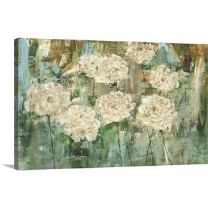 'White Roses I' by Carol Black Painting Print on Wrapped Canvas by Great Big Canvas
