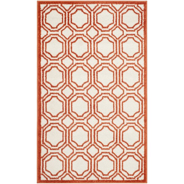 Maritza Ivory/Orange Indoor/Outdoor Area Rug by Willa Arlo Interiors