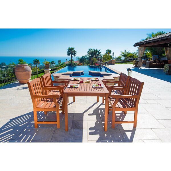 Outdoor Wood English Garden 5 Piece Dining Set by Vifah