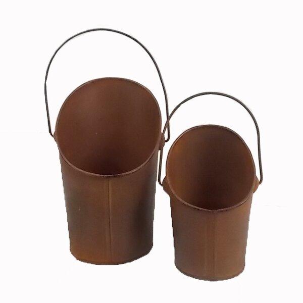 2-Piece Tin Pot Planter Set by Craft Outlet