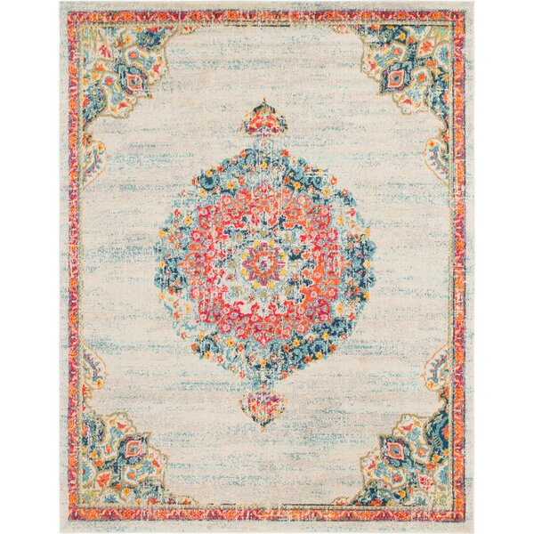 Ernst Ivory/Orange Area Rug by Bungalow Rose