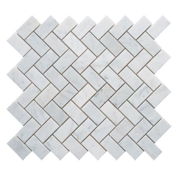 Carrara Honed Herringbone 1 x 2 Marble Mosaic Tile in White by Matrix Stone USA