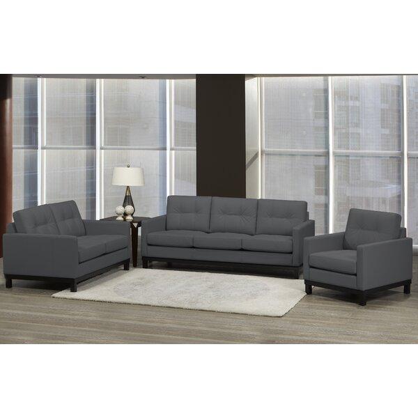 Merrick Road 3 Piece Leather Living Room Set by Latitude Run
