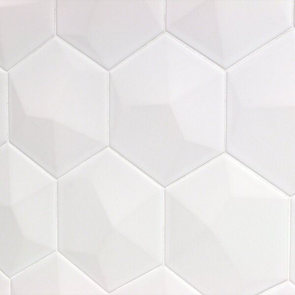 Bethlehem Hexagon 6 x 7 Ceramic Field Tile in Blanco by Splashback Tile