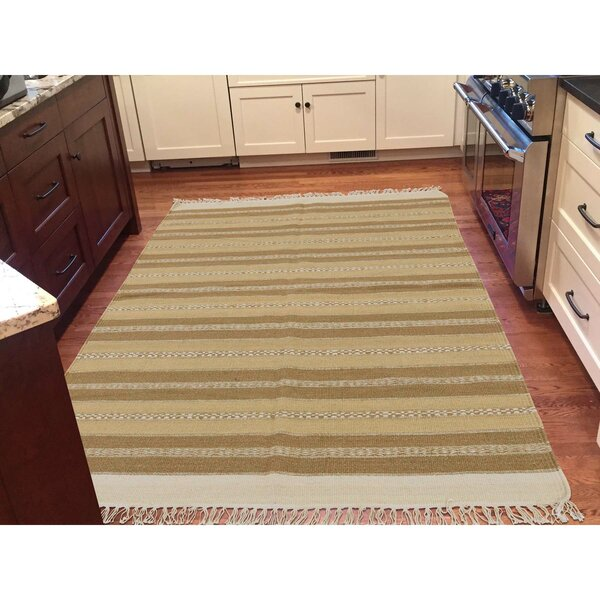 Reversible Striped Durie Kilim Flat Weave Hand-Knotted Beige/Light Brown Area Rug by Bloomsbury Market