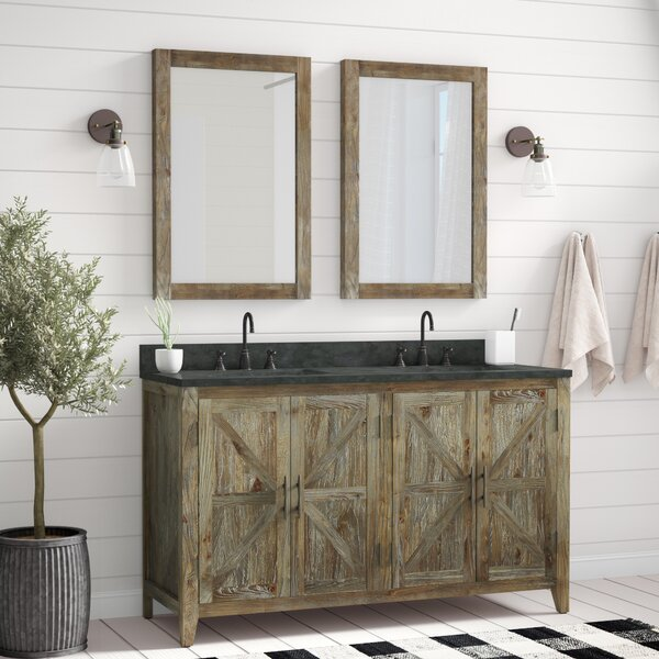 Alamo 60 Double Bathroom Vanity Set with Mirror by Laurel Foundry Modern Farmhouse