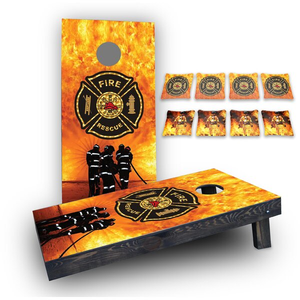 Firefighter Maltese Cross Custom 10 Piece Cornhole Board Set by Custom Cornhole Boards
